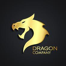 Dragon Head 3d Golden Logo