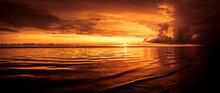 Sonnenuntergang An Der Nordsee In Esbjerg, Dänemark