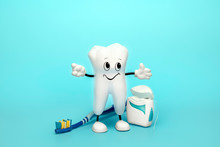 Dentist Background With Healthy Tooth Toothbrush And Floss. Dental Care Concept.