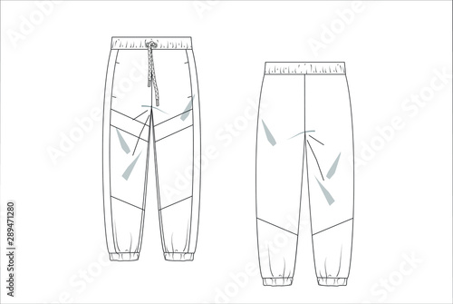 Leinwand Poster  drawn fashion Decorative trousers, clothing,  Vector illustration in old ink sty