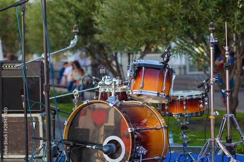 Fototapety, obrazy: Outdoor drum kit with microphones / concert preparation