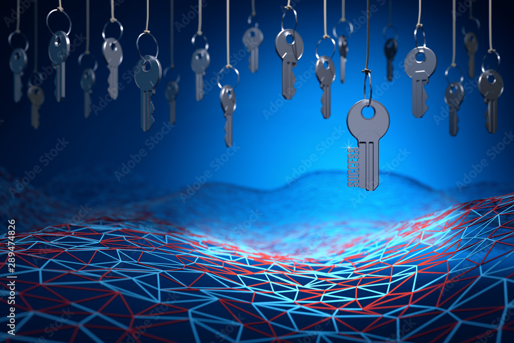 Fototapeta Searching of key to success, access concept, many metal keys hanging on the ropes above neural network mesh on a blue background