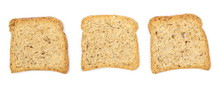 Rye Toast Slices With Seeds Set And Collection Isolated On White Background, Top View