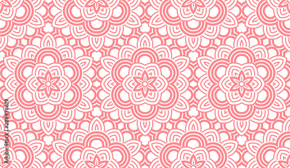 Fototapeta Flower geometric pattern. Seamless vector background. White and pink ornament. Ornament for fabric, wallpaper, packaging. Decorative print