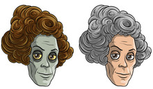 Cartoon Colorful Smiling Funny Pale Monster Zombie Granny Or Old Ladies. Isolated On White Background. Halloween Vector Icon Set.