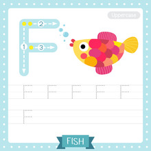 Letter F Uppercase Tracing Practice Worksheet. Colorful Fish Swimming