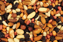 Mixed Shelled Nut Kernels And Raisin Background With Brazil Nuts, Peanuts, Hazelnuts, Almonds, Pecan Nuts