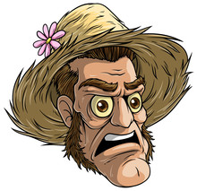 Cartoon Colorful Angry Funny Dead Zombie Monster Character In Farmer Straw Hat. Isolated On White Background. Halloween Vector Icon.