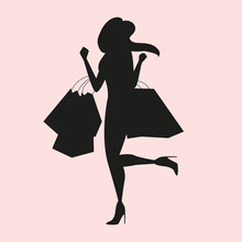 Black Silhouette, Lady With Shopping Bags
