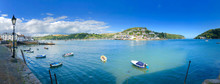 Panorama Of Bayard's Cove Dartmouth Devon Where The Pilgrim Fathers Sailed From To The Americas, An Area Of Outstanding Beauty The South Hams In The East Country Of England