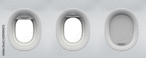 Set of vector realistic aircraft windows with curtains in different positions and blank copyspace inside. Mockup for your design