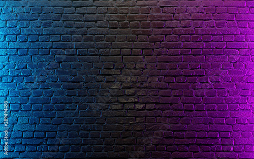 Modern futuristic neon lights on old grunge brick wall room background. 3d rendering - 289494498