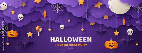 Cuadros en Lienzo Halloween paper cut banner