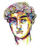 Rzeźba grecka młody człowiek. Odnowa posągu greckiego, słynna rzeźba. Markery do rysowania, pop-art. Stylowy plakat. - 289497219