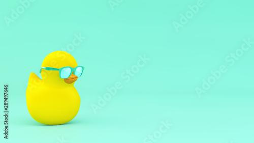 Cuadros en Lienzo  yellow duck with mint sunglasses 3d rendering