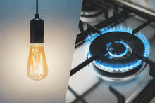 Gas Stove And Light Bulb. Utility Bills Concept