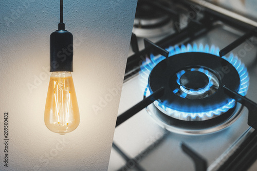 Cuadros en Lienzo Gas stove and light bulb. Utility bills concept