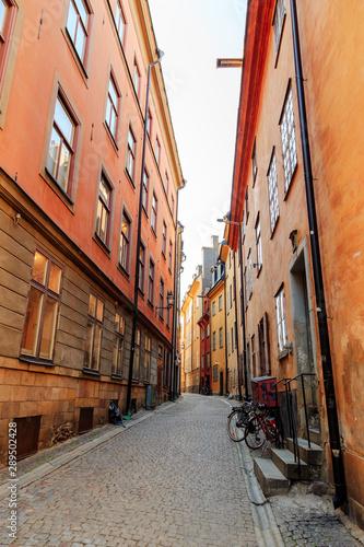 Foto auf AluDibond Stockholm Stockholm, Sweden. Streets of the old city Gamla Stan. Stockholm historic city