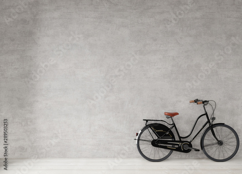 Fond de hotte en verre imprimé Velo Bicycle at the concrete wall, minimal style background copy space, mock up 3d rendering