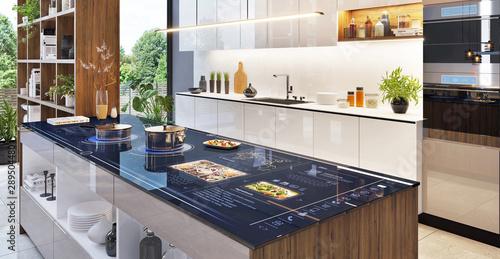 Fototapeta Smart home control panel in modern kitchen obraz