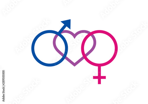 Fotomural Bisexuality symbol with heart vector