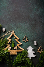 Overhead Shoot Of Wooden Christmas Tree And Decoration. Winter Holidays Background With Copy Space, Flat Lay, Top View.