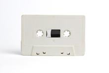 Old White Audio Cassette Isolated On White