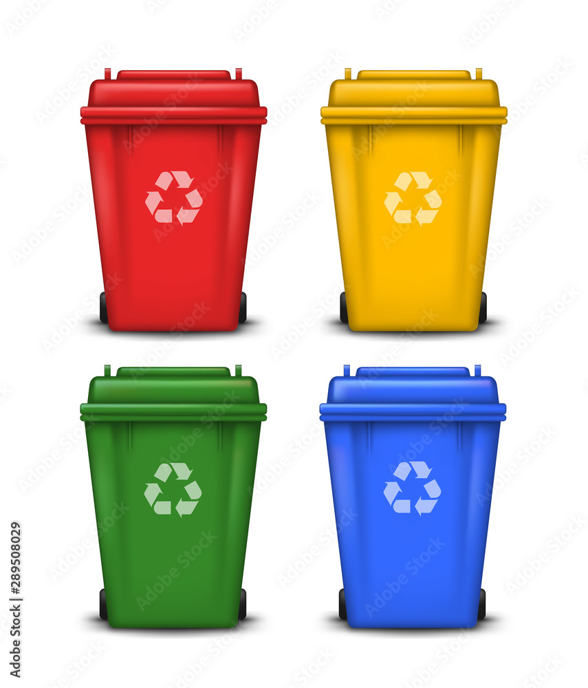 Fototapety, obrazy: Vector set of colorful trash bins with recycle symbol isolated on white background