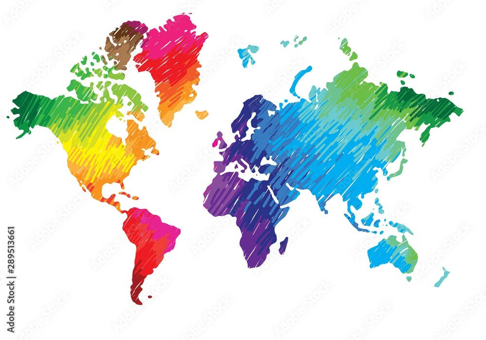 Fototapety, obrazy: World map. Continents and countries. Flat map of the earth. Peace, love, music and art. Pacifism. Multicolored drawing markers. Bright colours.