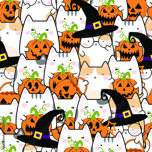 Seamless pattern in kawaii cute cat style for Halloween. Cartoon Animals Background, Vector Illustration - 289517805