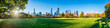 canvas print picture - Central Park in New York City as panorama background during autumn season