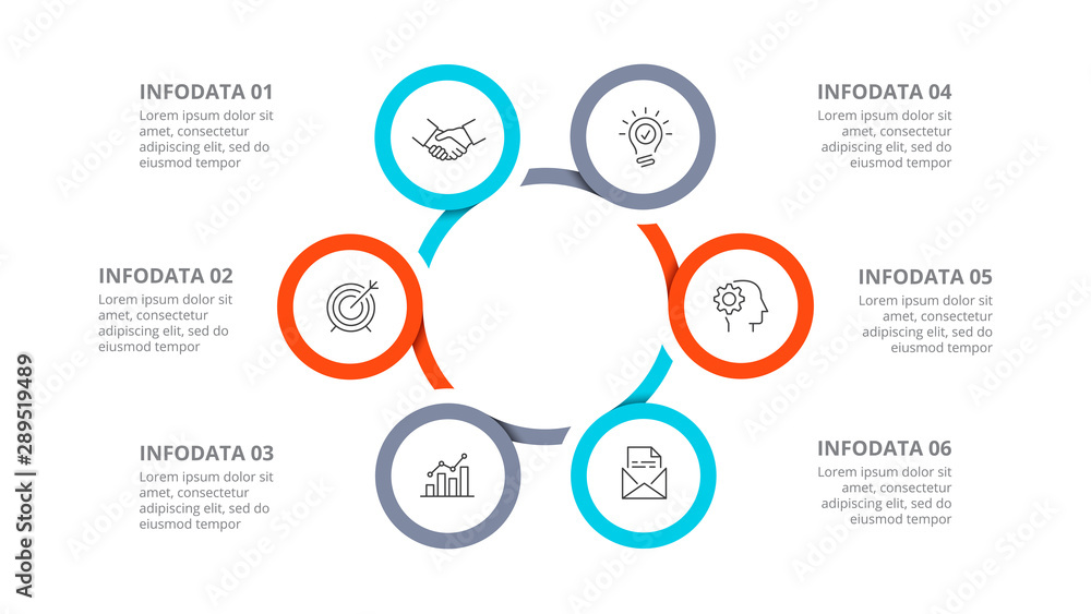 Fototapeta Cyclic diagram infographic with circles. Modern infographic design template with 6 options, steps or parts. Flat vector illustration for business presentation.