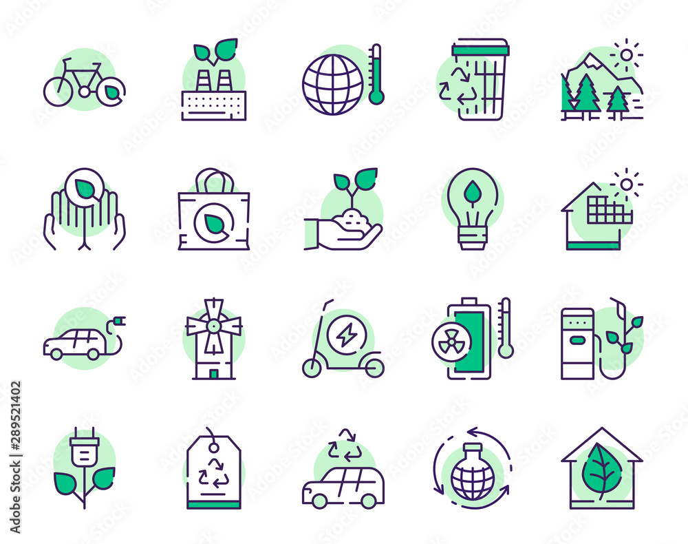 Fototapeta Nature conservation green color linear icons set