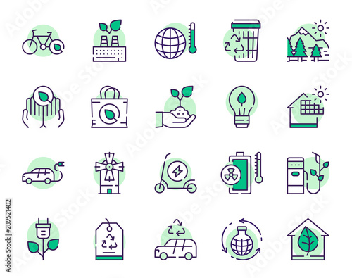 Valokuvatapetti Nature conservation green color linear icons set