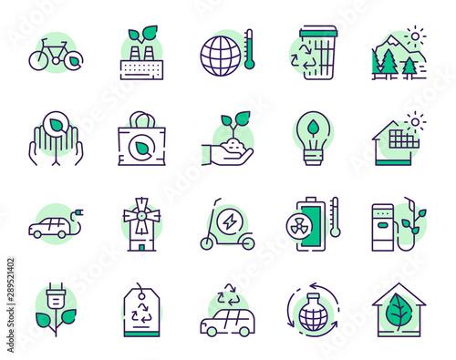 Nature conservation green color linear icons set Tapéta, Fotótapéta