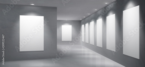 Fototapeta Art gallery, museum exhibition hall empty interior with painting, photography blank white, clean frames hanging on wall, illuminated round spotlight lamps from ceiling 3d realistic vector illustration obraz