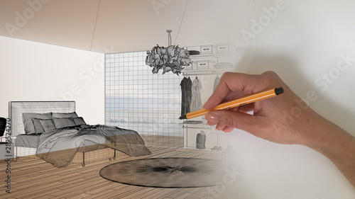 Fotomural  Architect interior designer concept: hand drawing a design interior project sket