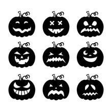 Laser Cut Set Of A Scary Halloween Pumpkins. Collection Of Silhouette Spooky Images. Horror Emoticons For Paper Cutting. Emoji Art. Isolated Vector Illustration On White Background. Black Icons.