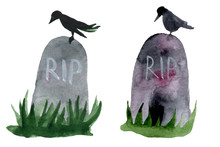 Set Of Hand-drawn Elements Painted In Watercolor. Cute Illustrations For Halloween. Watercolor Halloween Collection. Artistic Autumn Constructor Clip Art. Tombstone, Grave, Burial, Coffin