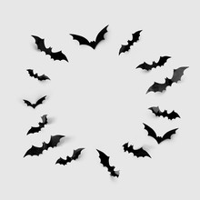 Halloween Decorations Concept - Black Paper Bats In Circle On Grey Background