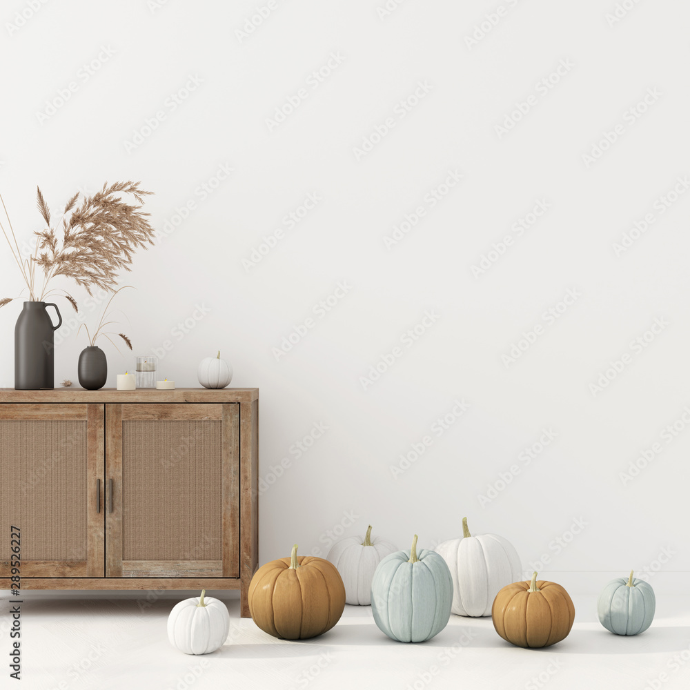Fototapeta Autumn interior decoration with chest of drawer