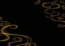 和柄背景 流水紋と市松模様 ブラックゴールド