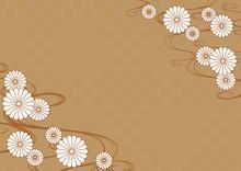 和柄背景 流水紋と菊...