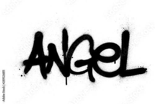 graffiti angel word sprayed in black over white