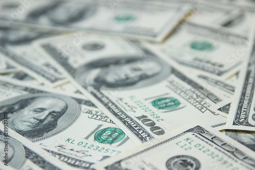Fototapeta Background with money american hundred dollar bills, Close up view of cash money dollars bills in amount obraz