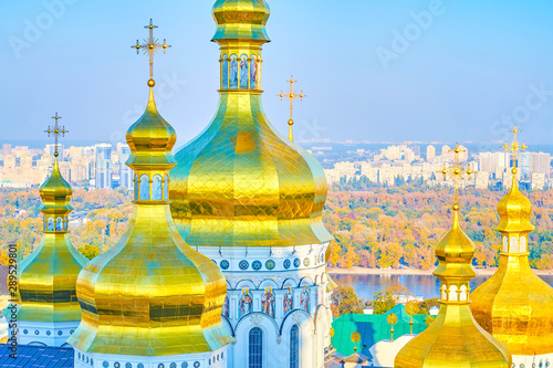 Fotobehang Kiev The Golden domes f Dormition Cathedral in Kiev, Ukraine
