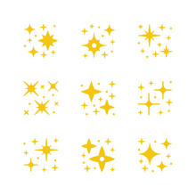 Set Yellow Icons Of Sparkling And Twinkling