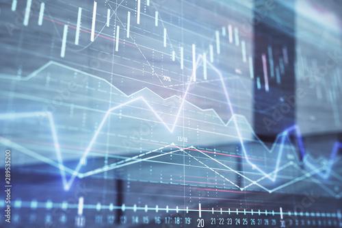 Fototapeta Double exposure of stock market graph on empty exterior background. Concept of analysis obraz