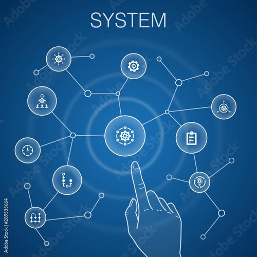 Cadres-photo bureau Echelle de hauteur system concept, blue background.management, processing, plan, scheme icons