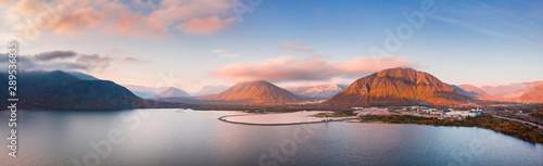 Photo Sunset in mountains Khibiny Kola Peninsula, Russia. Aerial view